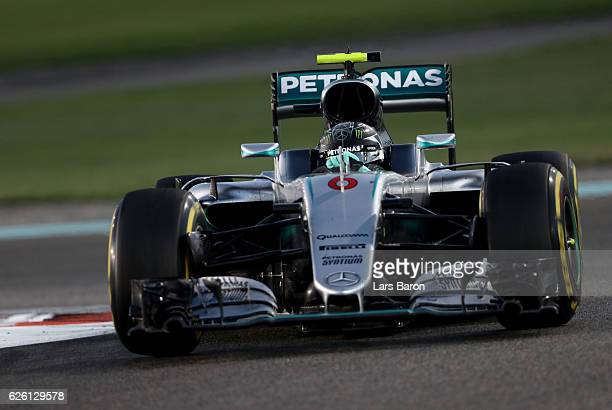 Nico Rosberg of Germany driving the Mercedes AMG Petronas F1 Team Mercedes F1 WO7 Mercedes PU106C Hybrid turbo on track during the Abu Dhabi Formula...