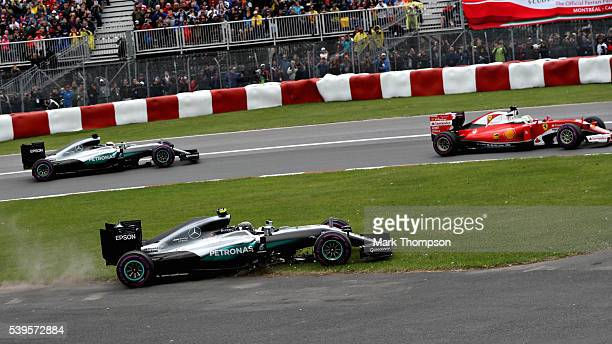 Nico Rosberg of Germany driving the Mercedes AMG Petronas F1 Team Mercedes tF1 WO7 Mercedes PU106C Hybrid turbo akes the escape road as Sebastian...