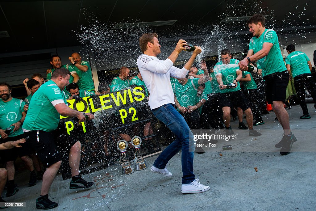 Nico Rosberg of Mercedes and Germany celebrates winning the Formula One Grand Prix of Russia at Sochi Autodrom on May 1, 2016 in Sochi, Russia.