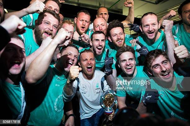 Nico Rosberg of Mercedes and Germany celebrates with teammates winning the Formula One Grand Prix of Russia at Sochi Autodrom on May 1 2016 in Sochi...