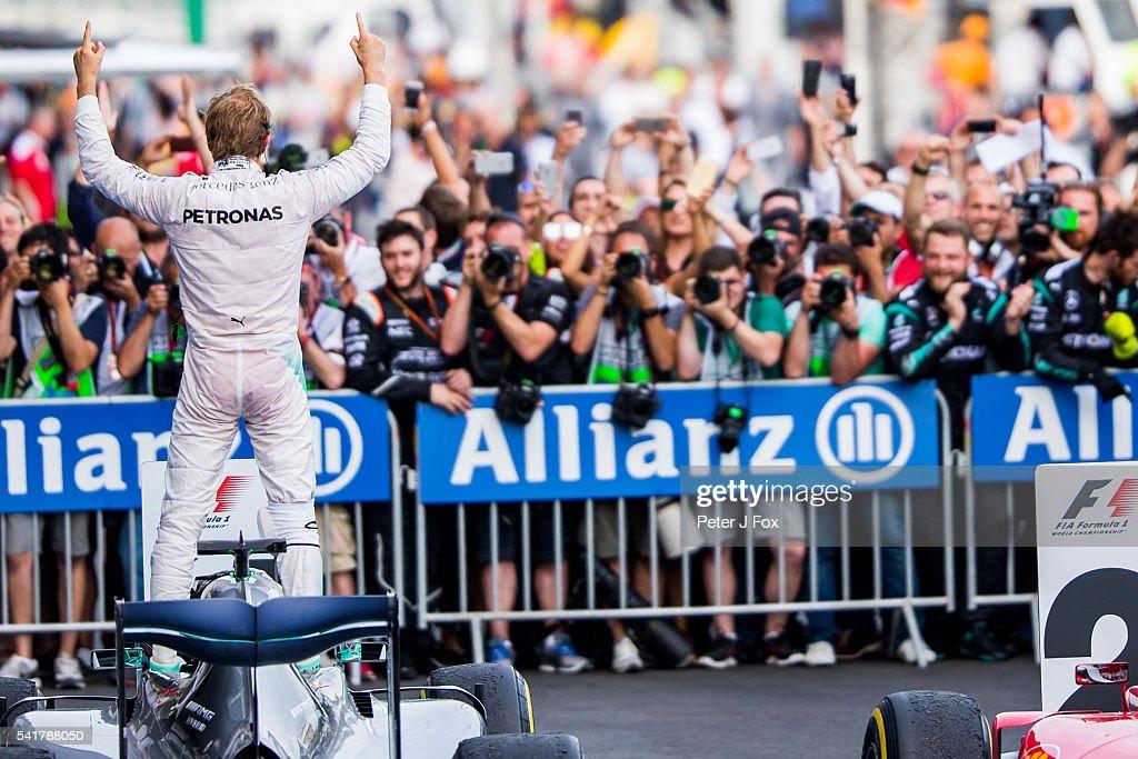 Nico Rosberg of Mercedes and Germany wins the European Formula One Grand Prix at Baku City Circuit on June 19, 2016 in Baku, Azerbaijan.