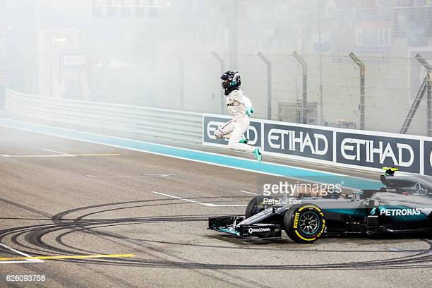 Nico Rosberg of Mercedes and Germany wins the Formula One World Championship at the Abu Dhabi Formula One Grand Prix at Yas Marina Circuit on...