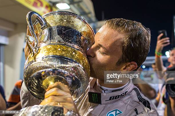 Nico Rosberg of Mercedes and Germany with the winning trophy after the Bahrain Formula One Grand Prix at Bahrain International Circuit on April 3...