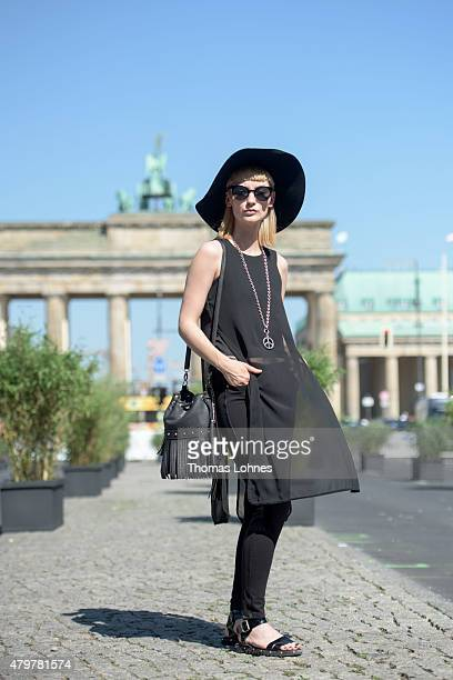 Nico Roscher wearing 'Von Bardonitz' during the MercedesBenz Fashion Week Berlin Spring/Summer 2016 at Brandenburg Gate on July 7 2015 in Berlin...