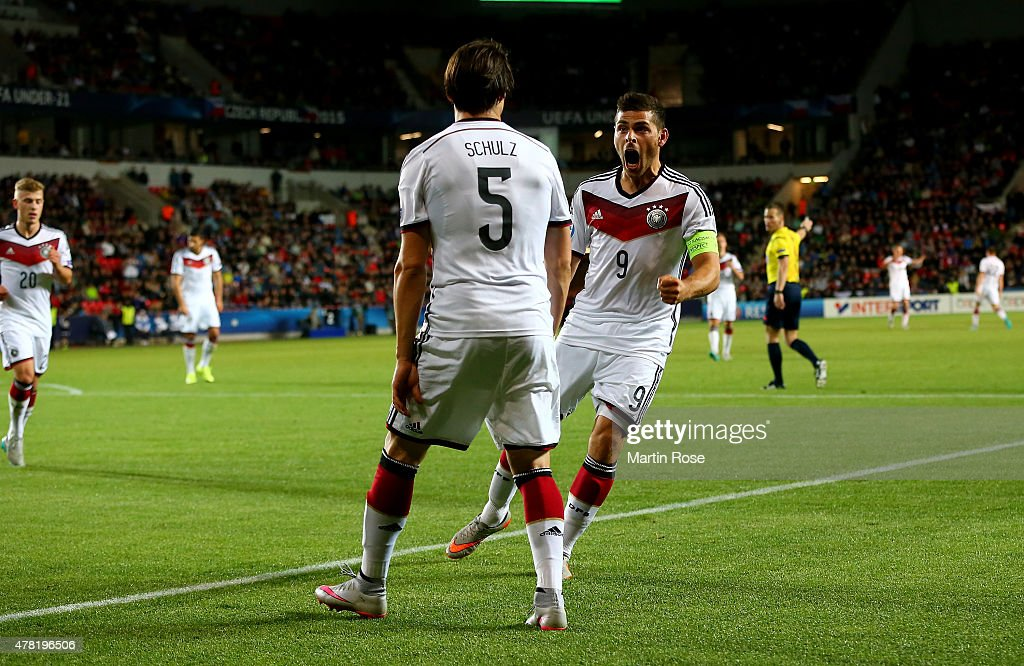 Nico Schluz #5 of Germany celebrate with team mate Kevin Volland #9 after scoring the opening goal during the UEFA European Under-21 Group A match between Germany and Czech Republic at Eden Stadium on June 23, 2015 in Prague, Czech Republic.
