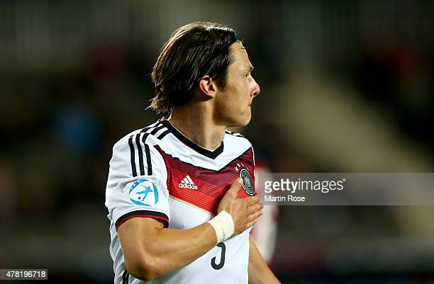 Nico Schluz of Germany celebrates after scoring the opening goal during the UEFA European Under21 Group A match between Germany and Czech Republic at...