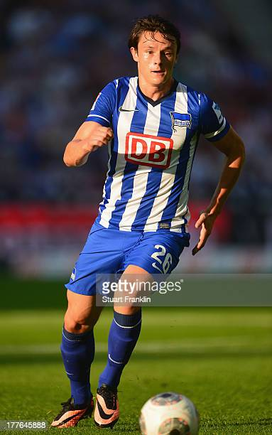 Nico Schulz of Berlin in action during the Bundesliga match between Hertha BSC and Hamburger SV at Olympiastadion on August 24 2013 in Berlin Germany