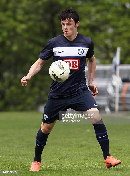 Nico Schulz of Berlin runs with the ball during the A juniors match between Hertha BSC Berlin and SV Werder Bremen at Amateurstadion on April 29 2012...