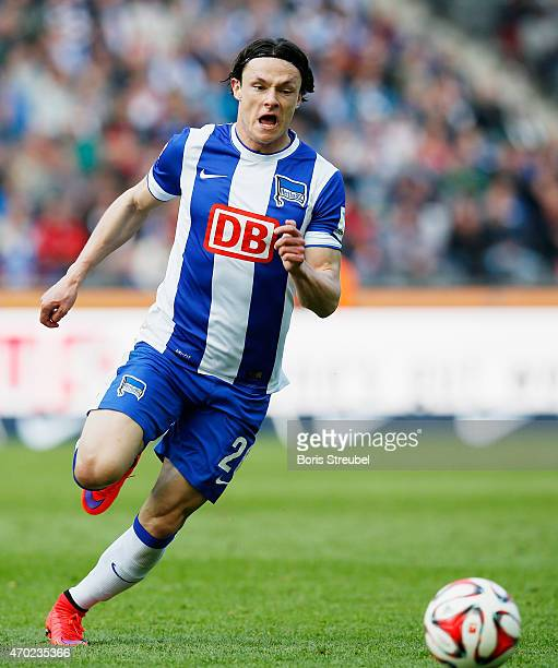 Nico Schulz of Berlin runs with the ball during the Bundesliga match between Hertha BSC and 1 FC Koeln at Olympiastadion on April 18 2015 in Berlin...