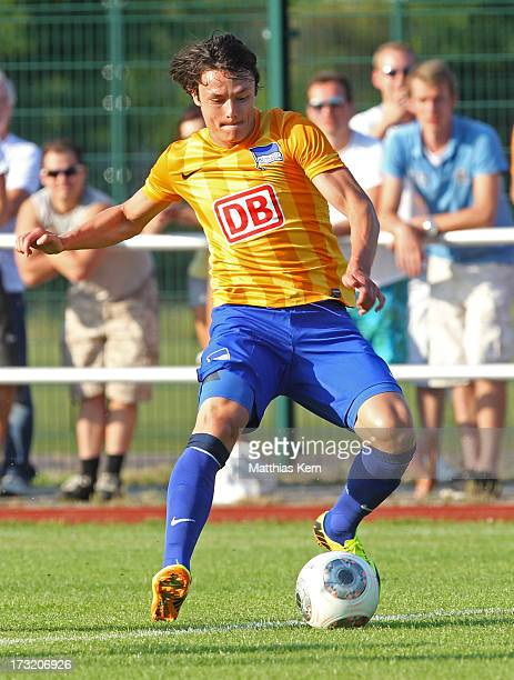 Nico Schulz of Berlin runs with the ball during the preseason friendly match between Hertha BSC and VSG Altglienicke at Fritz Lesch Stadion on July 9...