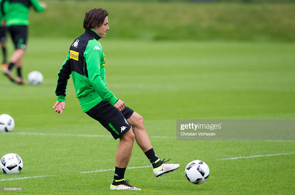 Nico Schulz of Borussia Moenchengladbach controls the ball during a training session at Borussia-Park on June 29, 2016 in Moenchengladbach, Germany.