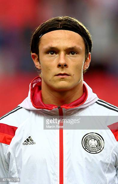 Nico Schulz of Germany looks on before the UEFA European Under21 Group A match between Germany and Denmark at Eden Stadium on June 20 2015 in Prague...