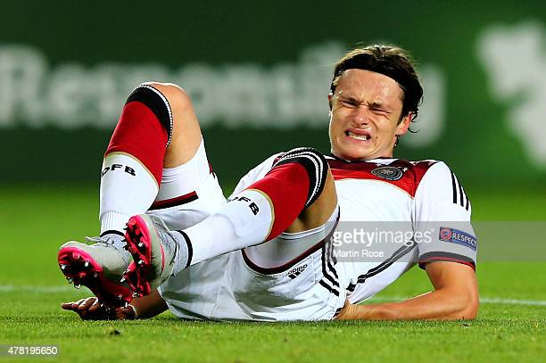 Nico Schulz of Germany reacts during the UEFA European Under21 Group A match between Germany and Czech Republic at Eden Stadium on June 23 2015 in...