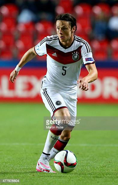 Nico Schulz of Germany runs with the ball during the UEFA European Under21 Group A match between Germany and Denmark at Eden Stadium on June 20 2015...