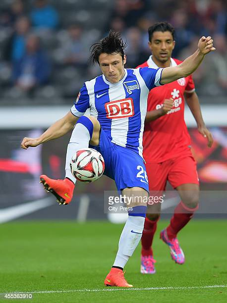 Nico Schulz of Hertha BSC during the Bundesliga match between Hertha BSC and 1 FSV Mainz 05 on September 13 2014 in Berlin Germany