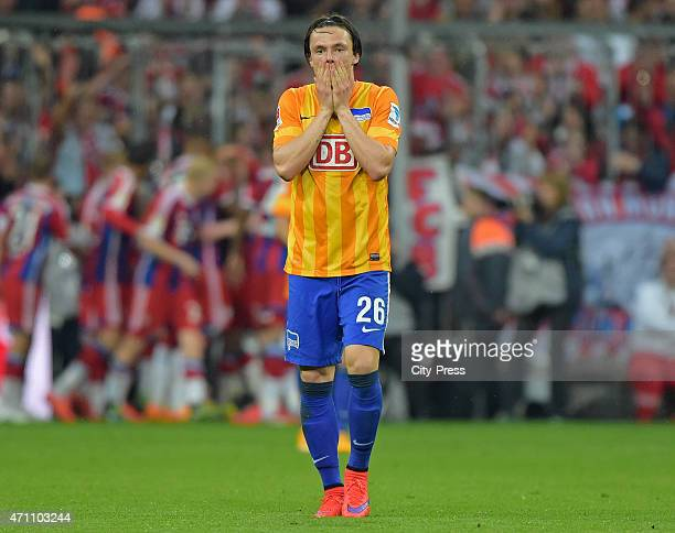 Nico Schulz of Hertha BSC shows disappointment after dem Tor tom 10 during the game FC Bayern Muenchen against Hertha BSC on april 25 2015 in...
