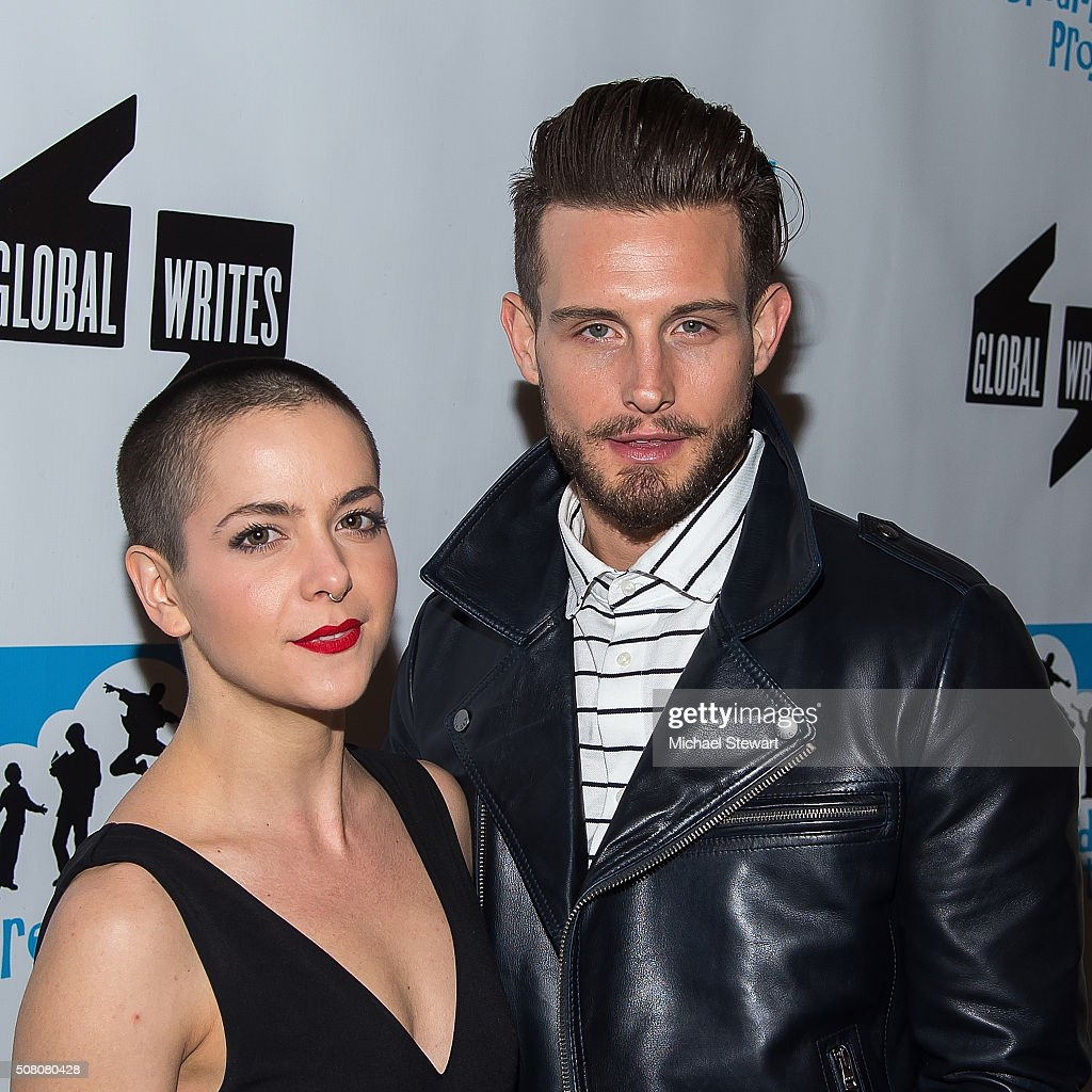 Nico Tortorella (R) and guest attend the Bronxwrites' Poetry Slam Finals at Joe's Pub on February 2, 2016 in New York City.