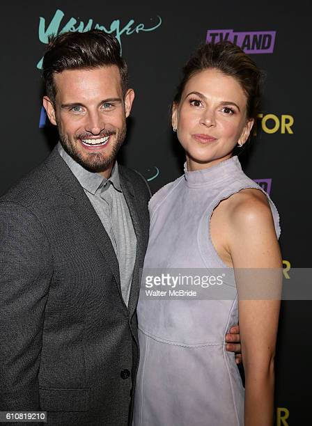 Nico Tortorella and Sutton Foster attend the 'Younger' Season 3 'Impastor' Season 2 New York Premiere at Vandal on September 27 2016 in New York City