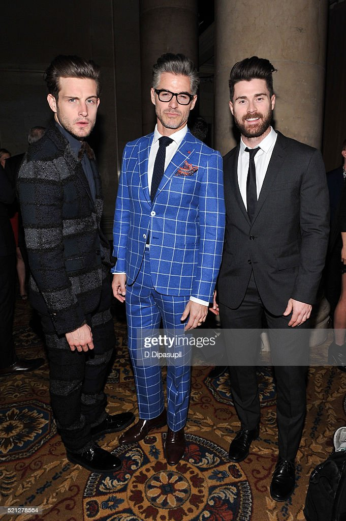Nico Tortorella, Eric Rutherford, and Kyle Krieger attend The LGBT Center of New York's annual fundraising dinner honoring Mary-Louise Parker and BNY Mellon at Cipriani Wall Street on April 14, 2016 in New York City.