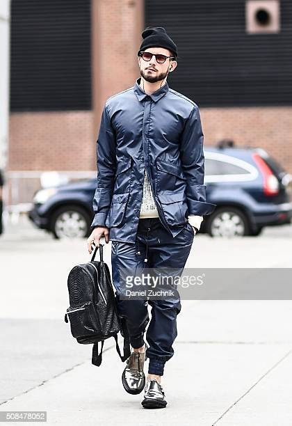 Nico Tortorella is seen outside the Timo Weiland show wearing a Rochambeau outfit during New York Fashion Week Men's Fall/Winter 2016 on February 4...