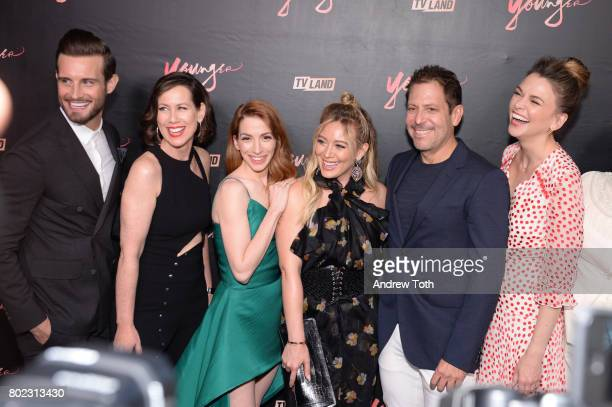Nico Tortorella Miriam Shor Molly Bernard Hilary Duff Darren Star and Sutton Foster attend the 'Younger' season four premiere party on June 27 2017...