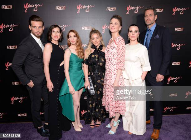 Nico Tortorella Miriam Shor Molly Bernard Hilary Duff Darren Star Sutton Foster Debi Mazar and Peter Hermann attend the 'Younger' season four...