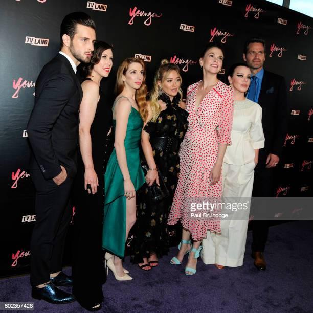 Nico Tortorella Miriam Shor Molly Bernard Hilary Duff Sutton Foster Debi Mazer and Peter Hermann attend 'Younger' season four premiere party at Mr...