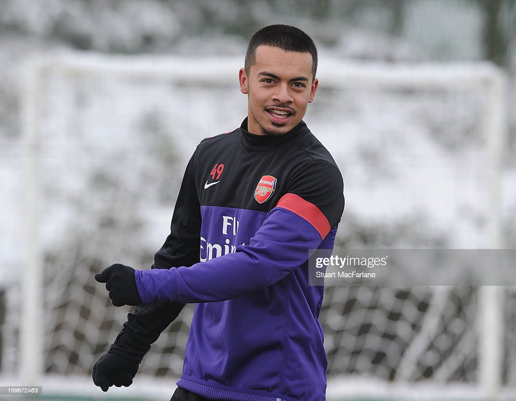 Nico Yennaris of Arsenal warms up during a training session at London Colney on January 22, 2013 in St Albans, England.