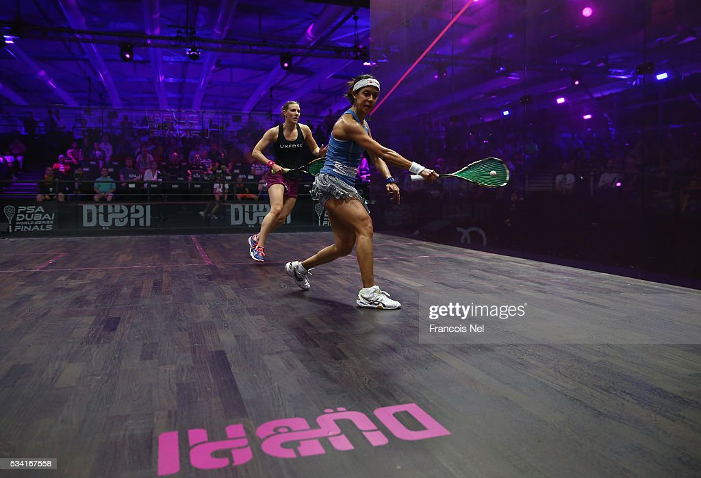 <a gi-track='captionPersonalityLinkClicked' href=/galleries/search?phrase=Nicol+David&family=editorial&specificpeople=799642 ng-click='$event.stopPropagation()'>Nicol David</a> of Malaysia compete against Laura Massaro of England during day two of the PSA Dubai World Series Finals 2016 at Burj Park on May 25, 2016 in Dubai, United Arab Emirates.