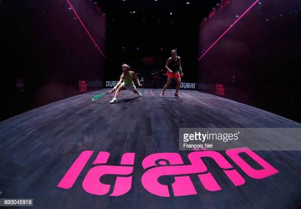 Nicol David of Malaysia competes against Laura Massaro of England during day one of the PSA Dubai World Series Finals 2017 at Dubai Opera on June 6...