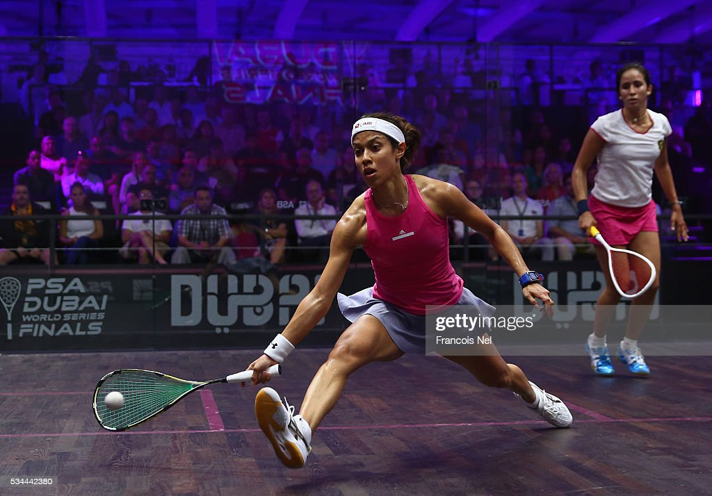 <a gi-track='captionPersonalityLinkClicked' href=/galleries/search?phrase=Nicol+David&family=editorial&specificpeople=799642 ng-click='$event.stopPropagation()'>Nicol David</a> of Malaysia competes against Nouran Gohar of Egypt during day three of the PSA Dubai World Series Finals 2016 at Burj Park on May 26, 2016 in Dubai, United Arab Emirates.