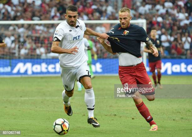 Nicol Fazzi and Luca Rigoni during the TIM Cup match between Genoa CFC and AC Cesena at Stadio Luigi Ferraris on August 13 2017 in Genoa Italy
