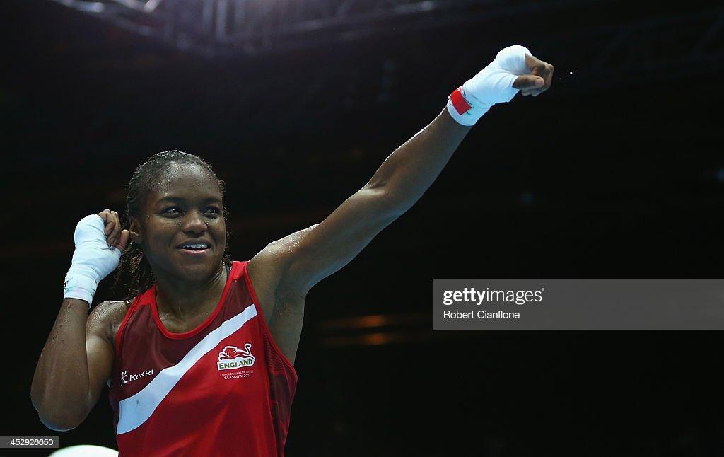 Nicola Adams of England celebrates after defeating Erandi de Silva of Sri Lanka in the Women's Fly 4851kg Division Boxing quarterfinals at Scottish...