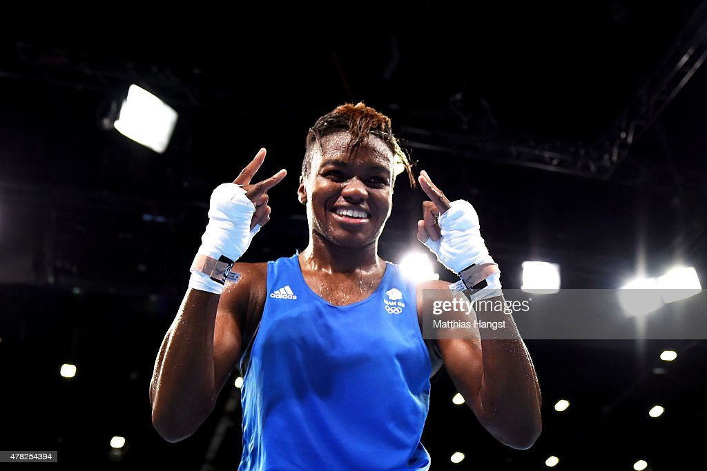 Nicola Adams of Great Britain celebrates victory over Elif Coskun of Turkey in the Women's Boxing Flyweight Semi Final during day twelve of the Baku...