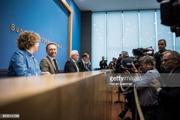 Nicola Beer General Secretary of the Free Democratic Party Christian Lindner Federal Chairman of the Free Democratic Party and Wolfgang Kubicki...