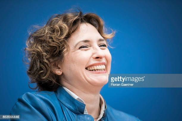 Nicola Beer General Secretary of the Free Democratic Party is pictured during a press conference the day after the election on September 25 2017 in...