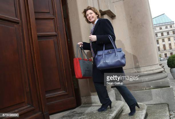 Nicola Beer of the Free Democratic Party arrives for yet another round of preliminary coalition talks for the creation of a new government on...