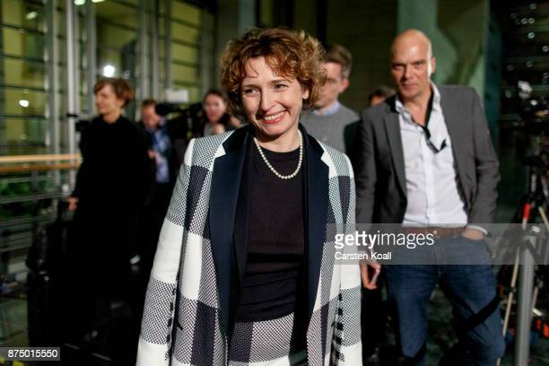 Nicola Beer of the Free Democratic Party speaks to the media during what is supposed to be the last day of preliminary talks over the creation of a...