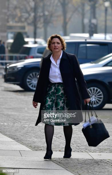 Nicola Beer secretary general of Germany's liberal free democratic FDP party arrives for exploratory talks with party members of the Greens on...