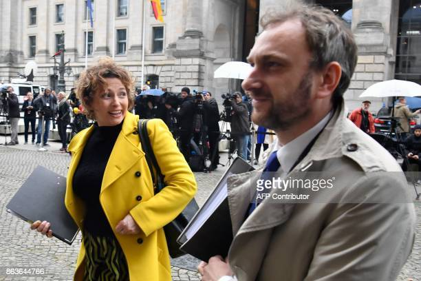 Nicola Beer secretary general of Germany's liberal free democratic FDP party arrives as members of the delegations of the CDU/CSU conservative...