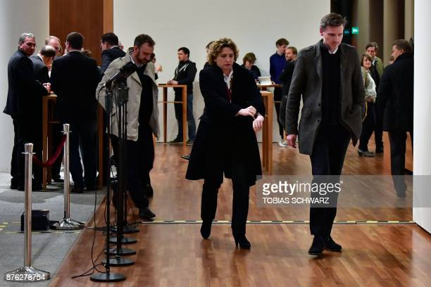 Nicola Beer secretary general of the free democratic FDP party is seen during a break in exploratory talks with members of potential coalition...
