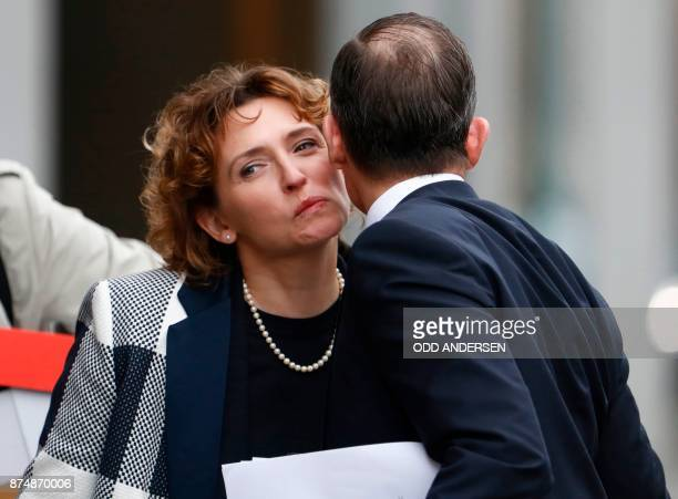 Nicola Beer secretary general of the free democratic FDP party is greeted by Volker Wissing regional leader of the free democratic FDP party in...