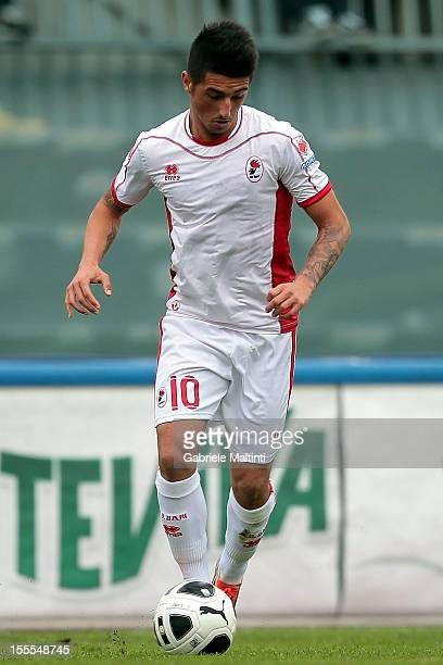 Nicola Bellomo of AS Bari in action during the Serie B match between AS Livorno Calcio ad AS Bari at Stadio Armando Picchi on November 3 2012 in...