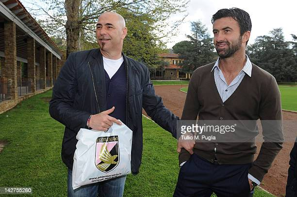 Nicola Berti former goalkeeper of Palermo speaks with Sport Manager of Palermo Christian Panucci after a Palermo training session at Coverciano on...