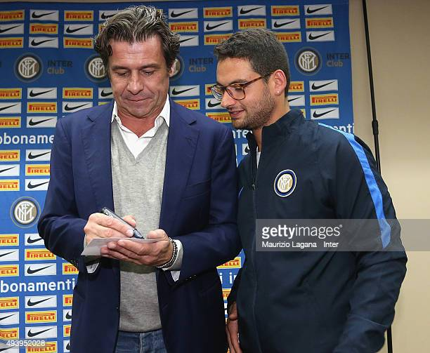 Nicola Berti of Inter signs an autograph during meeting between FC Internazionale Milano players and fans at Astoria Hotel on October 23 2015 in...