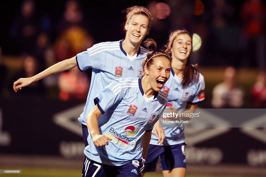 Nicola Bolger of Sydney celebrates after scoring a goal during the round 10 WLeague match between Adelaide and Sydney at Adelaide Shores Football...