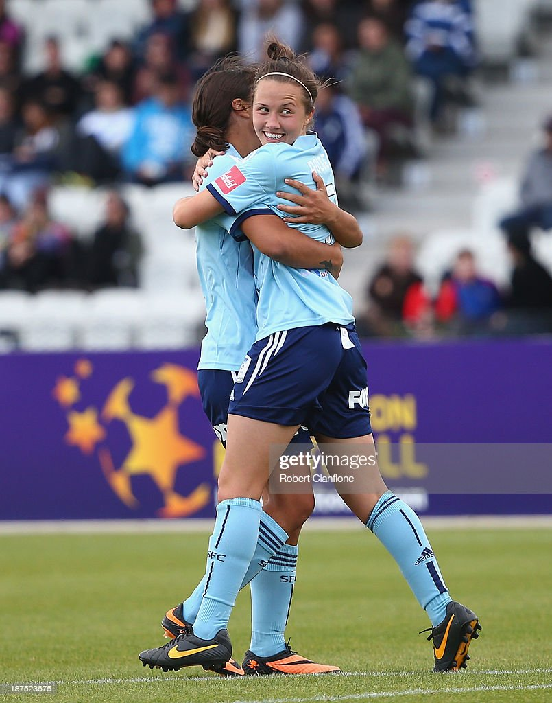 Nicola Bolger of Sydney FC celebrates her goal during the round one W-League match between the Melbourne Victory and Sydney FC at Lakeside Stadium on November 10, 2013 in Melbourne, Australia.