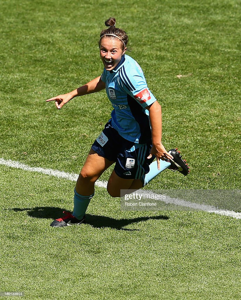 Nicola Bolger of Sydney FC celebrates her goal during the W-League Grand Final between the Melbourne Victory and Sydney FC at AAMI Park on January 27, 2013 in Melbourne, Australia.