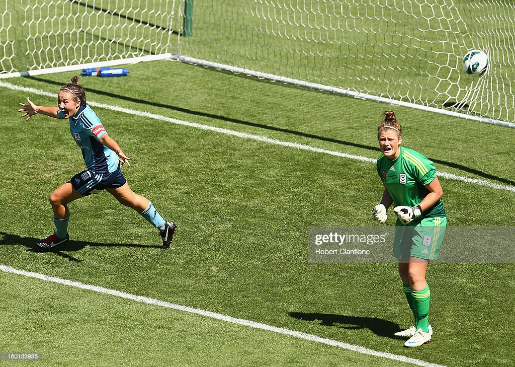 Nicola Bolger of Sydney FC celebrates her goal past Victory goalkeeper Brianna Davey during the W-League Grand Final between the Melbourne Victory and Sydney FC at AAMI Park on January 27, 2013 in Melbourne, Australia.