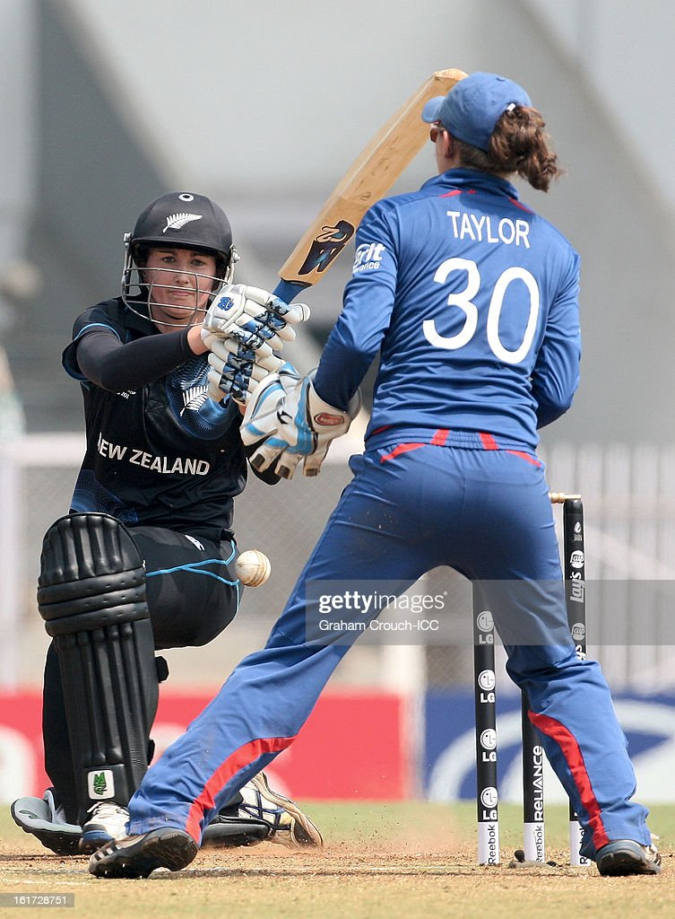 Nicola Browne of New Zealand batting during the 3rd/4th Place Play-Off game between England and New Zealand at the Women's World Cup India 2013 at the Cricket Club of India ground on February 15, 2013 in Mumbai, India.